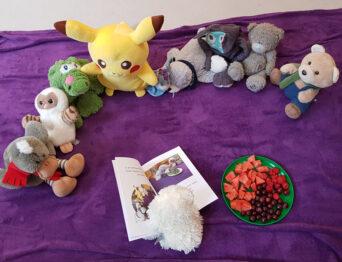 Kuscheltiere, Kinderbuch und Obstschale auf einer Decke